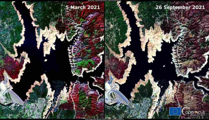 Satellite imagery shows low-level records at Lake Oroville, California